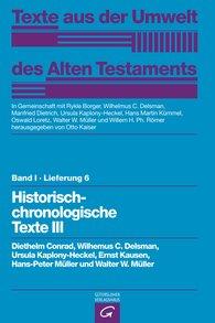 Diethelm  Conrad, Wilhelmus C.  Delsman, Ursula  Kaplony-Heckel, Walter W.  Müller, Otto  Kaiser  (Hrsg.) - Historisch-chronologische Texte III